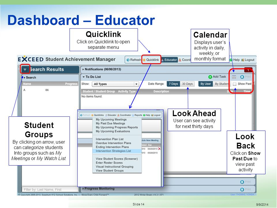 9/9/2014 Slide 14 Dashboard – Educator Quicklink Click on Quicklink to open separate menu Look Ahead User can see activity for next thirty days Student Groups By clicking on arrow, user can categorize students Into groups such as My Meetings or My Watch List Look Back Click on Show Past Due to view past activity Calendar Displays user's activity in daily, weekly, or monthly format