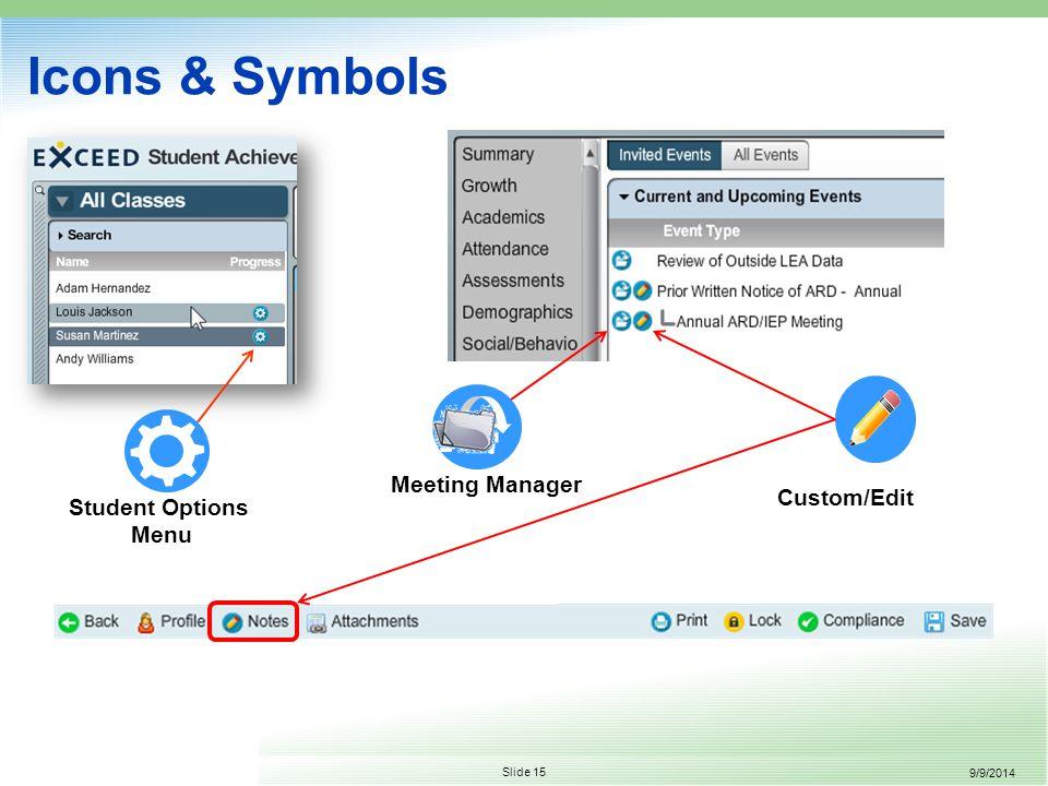 9/9/2014 Slide 15 Icons & Symbols Student Options Menu Custom/Edit Meeting Manager
