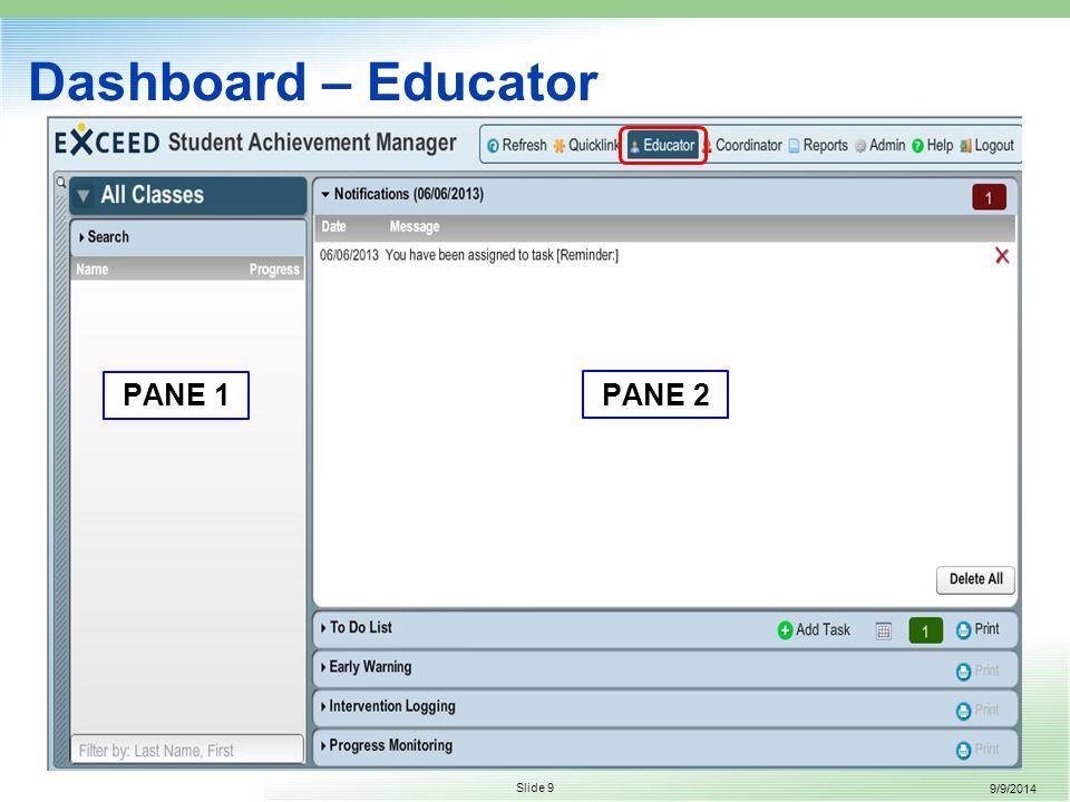 9/9/2014 Slide 9 Dashboard – Educator PANE 2 PANE 1