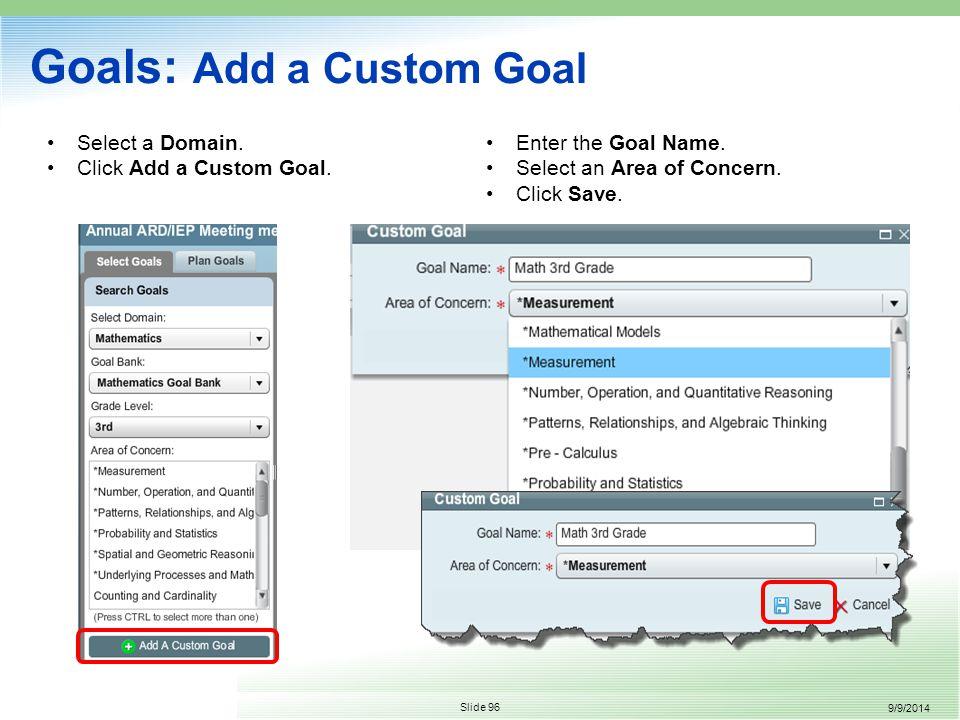 9/9/2014 Slide 96 Select a Domain. Click Add a Custom Goal.