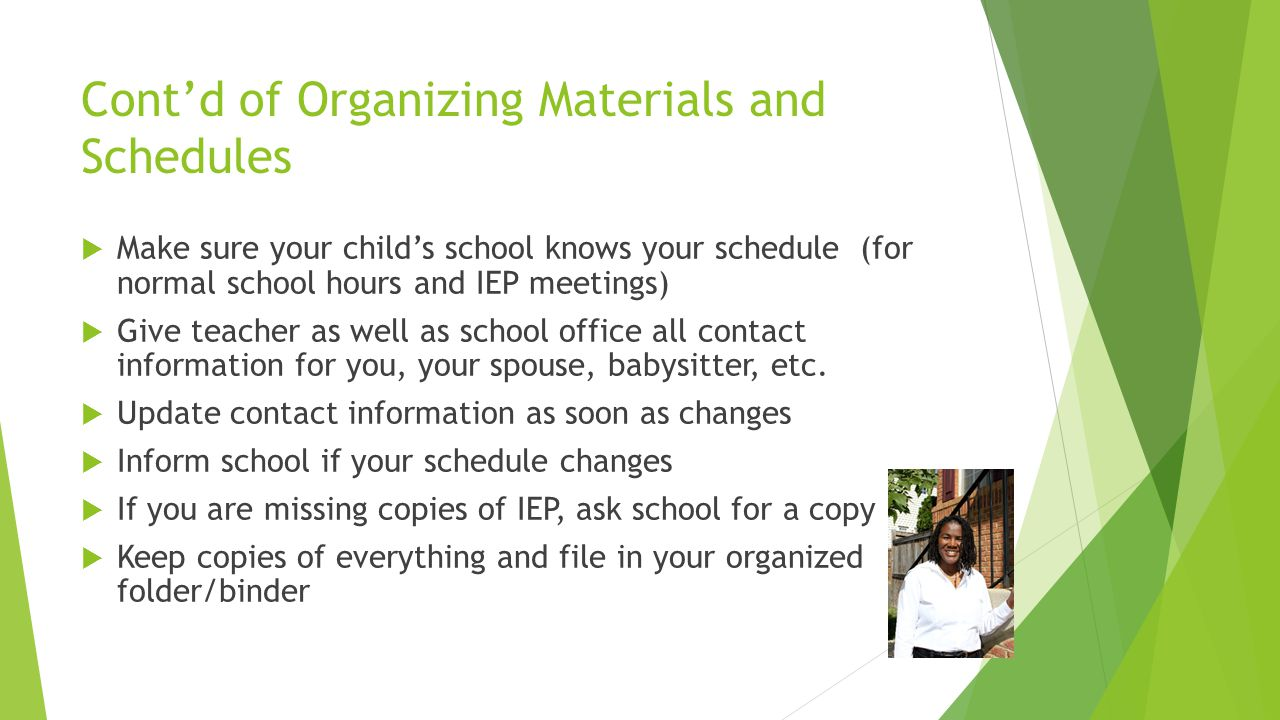 Topic: Organization of student materials and schedules  Review your child's schedule for the new semester  Note teachers and any new requirements  Make a list of any new supplies or labs required  Visit Parent Portal (Blackboard) and get any updates on school activities that may support your child  Contact your child's caseworker and facilitator on any issues of concern that requires being addressed.