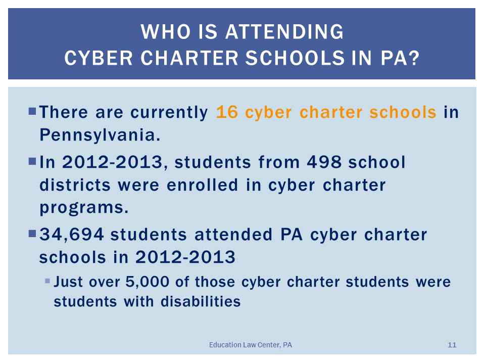  There are currently 16 cyber charter schools in Pennsylvania.  In 2012-2013, students from 498 school districts were enrolled in cyber charter prog