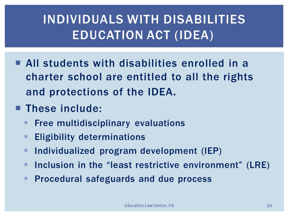  All students with disabilities enrolled in a charter school are entitled to all the rights and protections of the IDEA.  These include:  Free mult