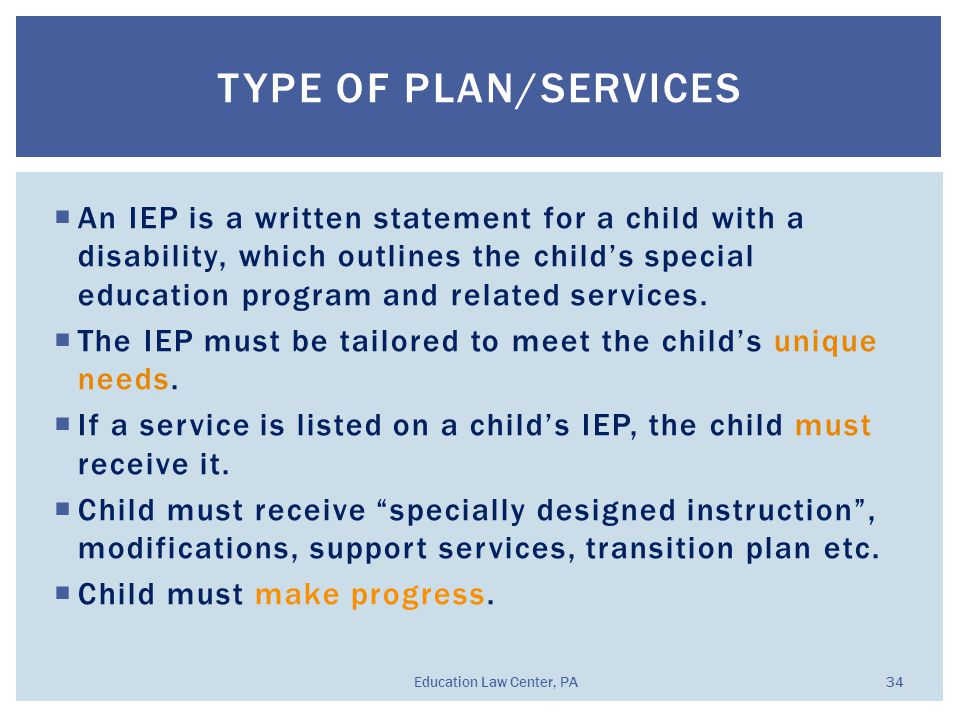  An IEP is a written statement for a child with a disability, which outlines the child's special education program and related services.