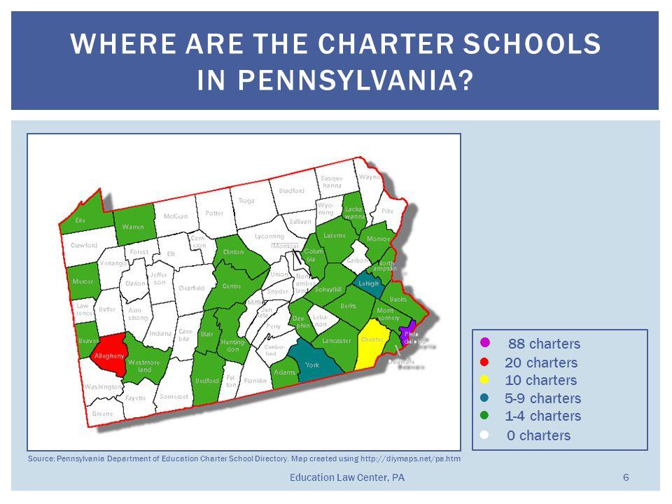 WHERE ARE THE CHARTER SCHOOLS IN PENNSYLVANIA?  88 charters 20 charters  10 charters  5-9 charters  1-4 charters  0 charters Source: Pennsylvania
