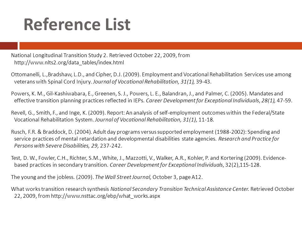 Reference List National Longitudinal Transition Study 2.