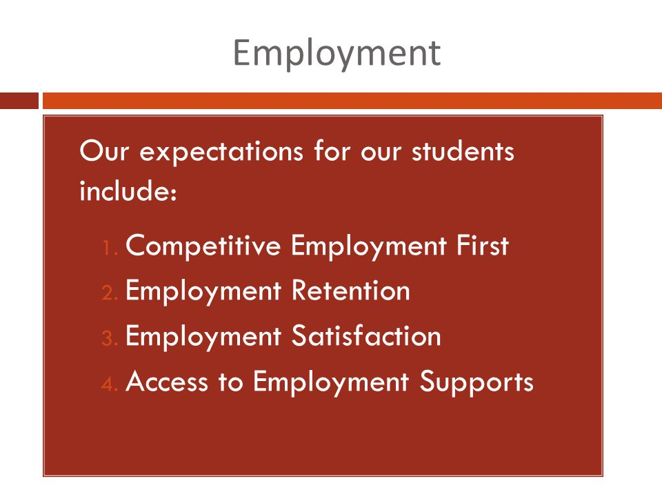 Employment 1. Our expectations for our students include: 1.