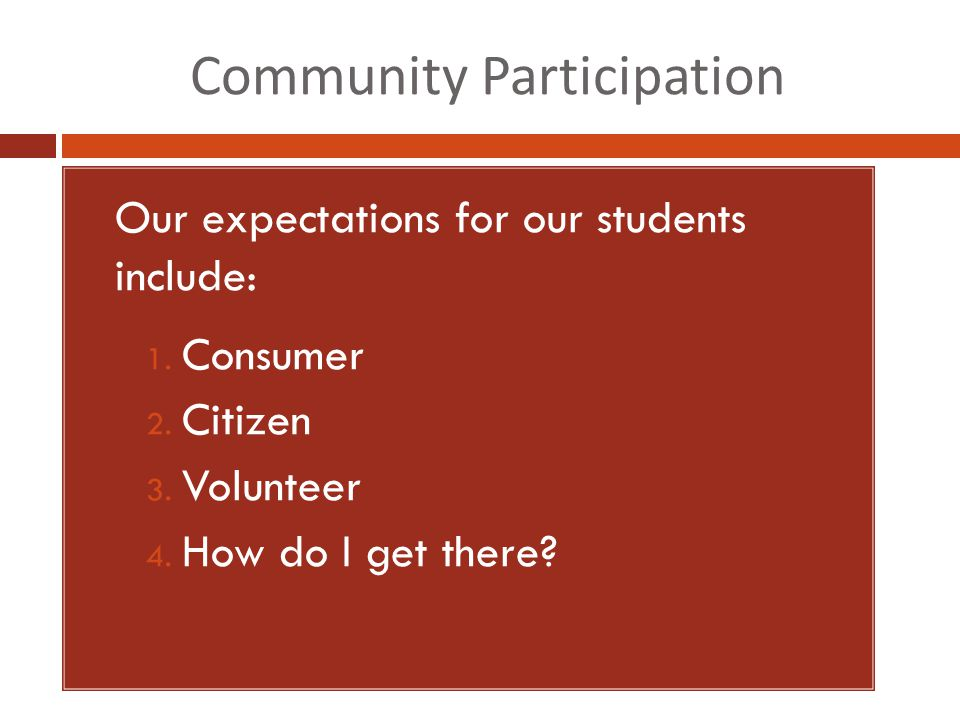 Community Participation 1. Our expectations for our students include: 1.