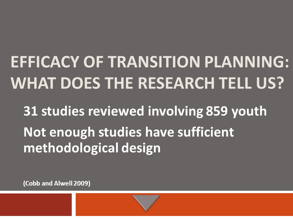 EFFICACY OF TRANSITION PLANNING: WHAT DOES THE RESEARCH TELL US.