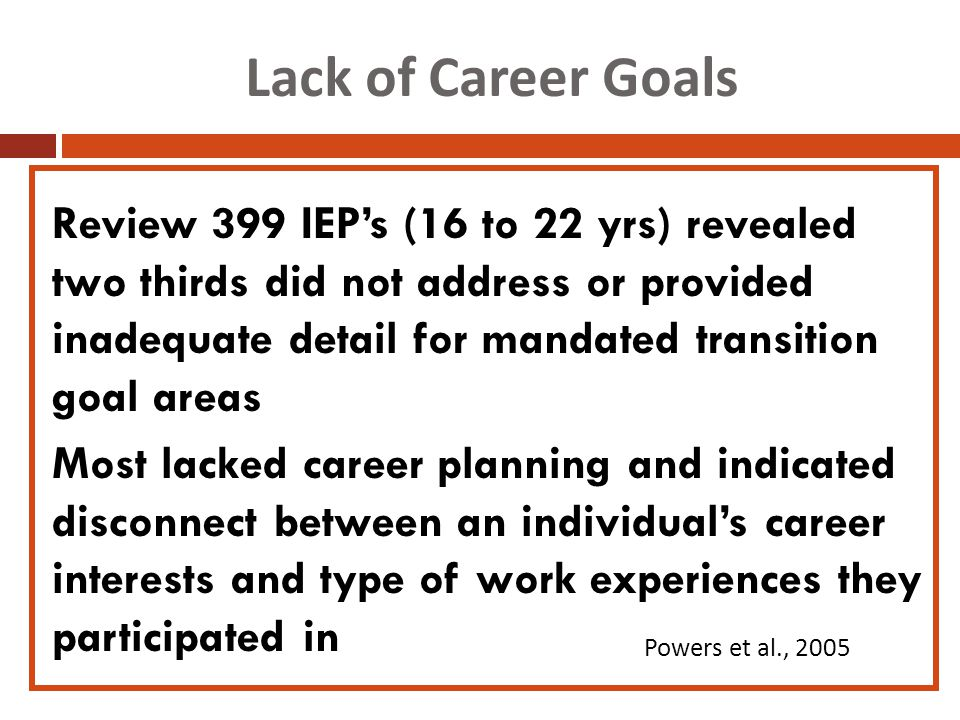 Lack of Career Goals Review 399 IEP's (16 to 22 yrs) revealed two thirds did not address or provided inadequate detail for mandated transition goal areas Most lacked career planning and indicated disconnect between an individual's career interests and type of work experiences they participated in Powers et al., 2005
