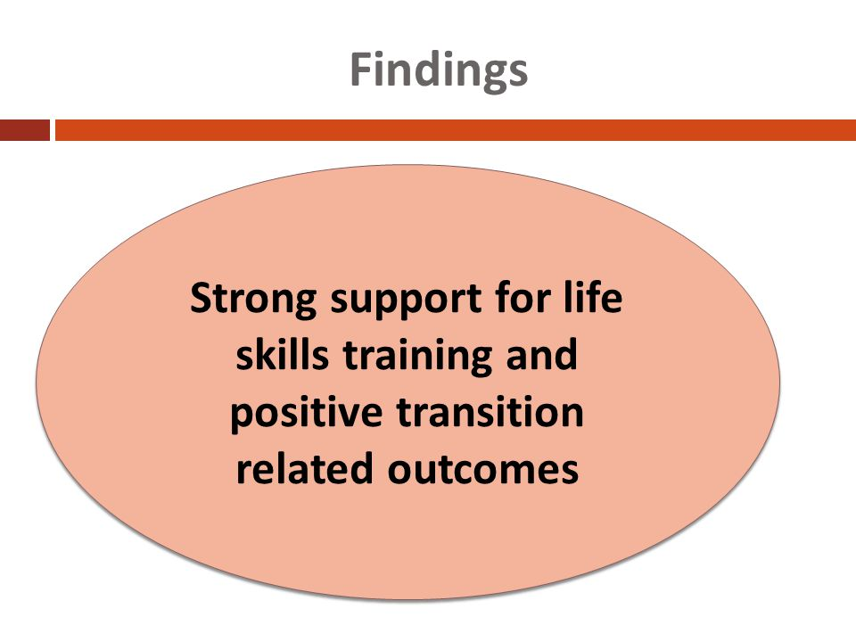 Findings Strong support for life skills training and positive transition related outcomes