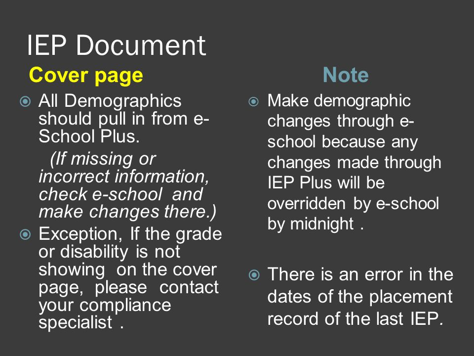 IEP Document Cover pageNote  All Demographics should pull in from e- School Plus.