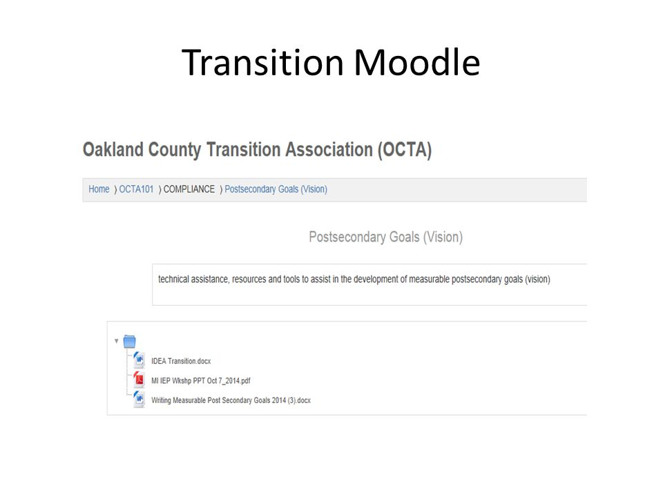 Transition Moodle