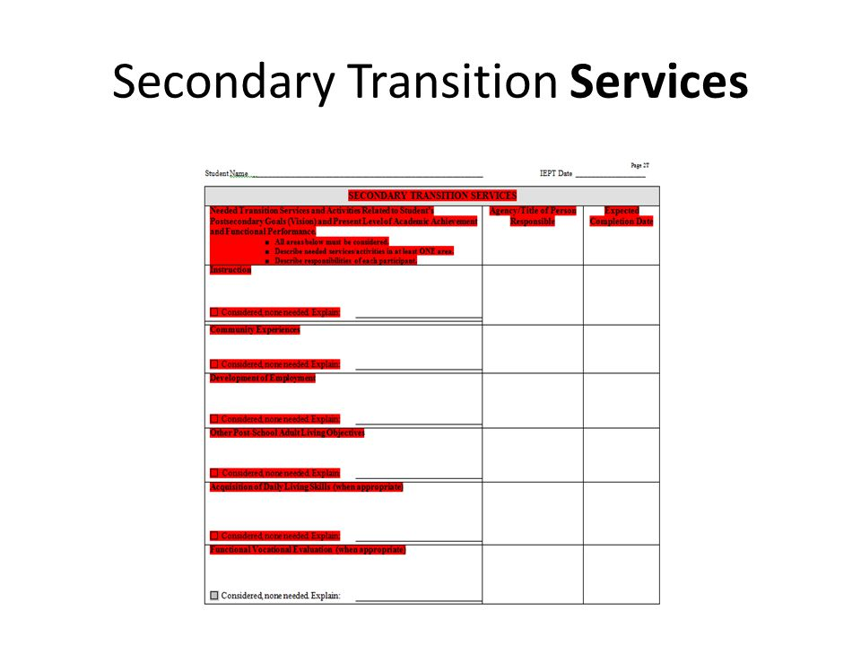 Secondary Transition Services