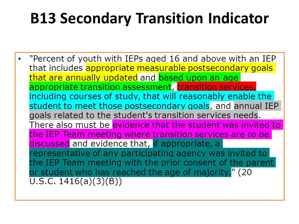 B13 Secondary Transition Indicator Percent of youth with IEPs aged 16 and above with an IEP that includes appropriate measurable postsecondary goals that are annually updated and based upon an age appropriate transition assessment, transition services, including courses of study, that will reasonably enable the student to meet those postsecondary goals, and annual IEP goals related to the student s transition services needs.
