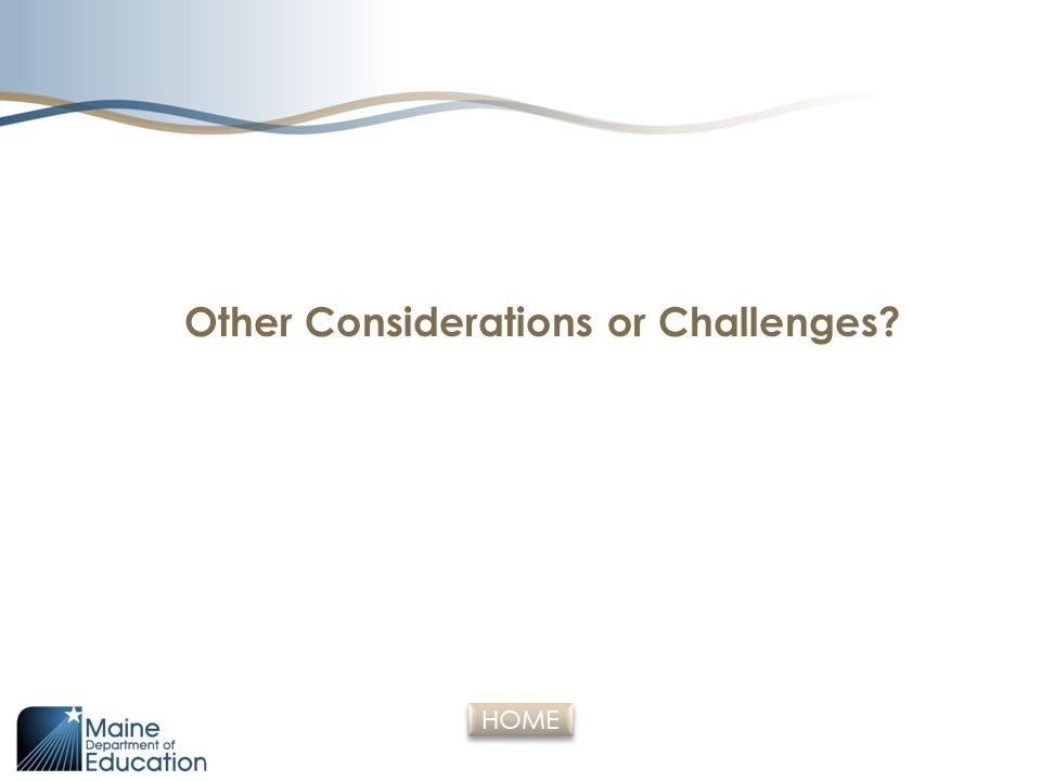 Other Considerations or Challenges