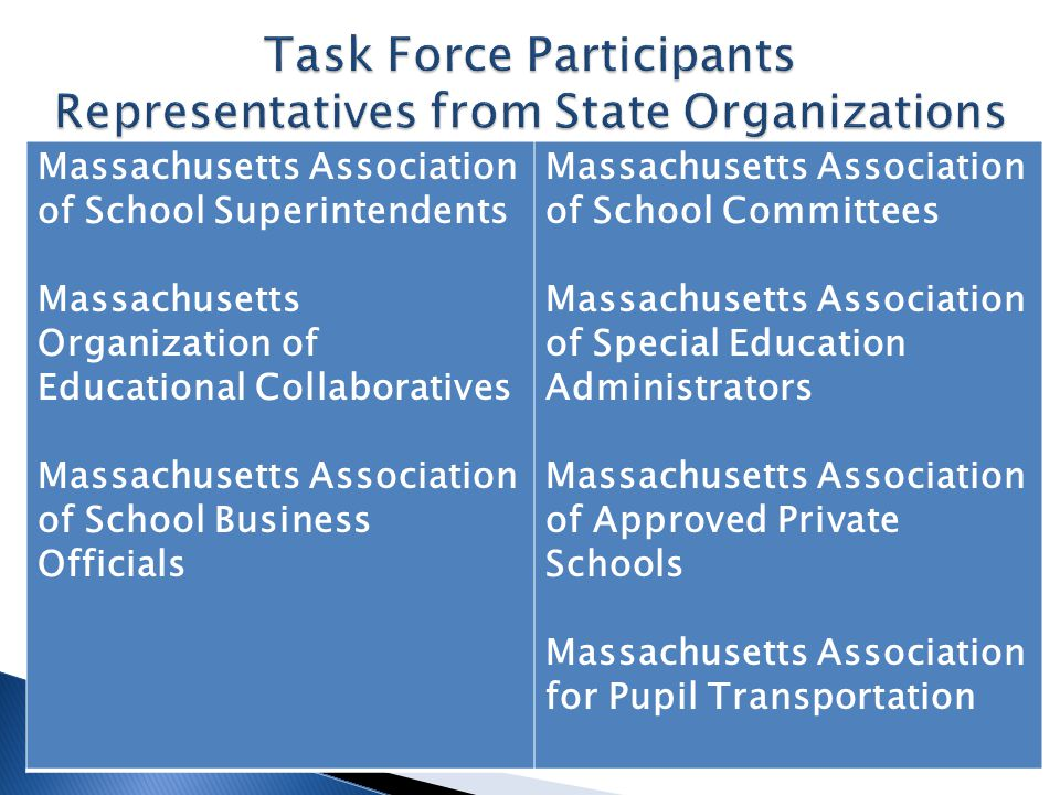 Massachusetts Association of School Superintendents Massachusetts Organization of Educational Collaboratives Massachusetts Association of School Business Officials Massachusetts Association of School Committees Massachusetts Association of Special Education Administrators Massachusetts Association of Approved Private Schools Massachusetts Association for Pupil Transportation
