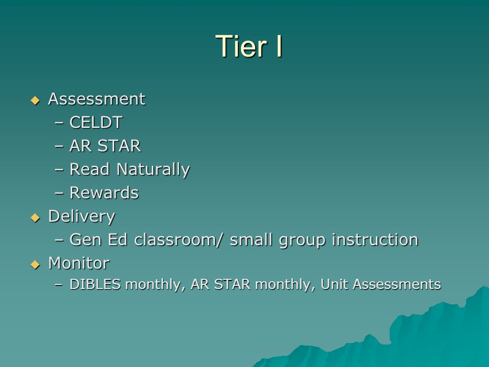 Tier I Tier I  Assessment –CELDT –AR STAR –Read Naturally –Rewards  Delivery –Gen Ed classroom/ small group instruction  Monitor –DIBLES monthly, A