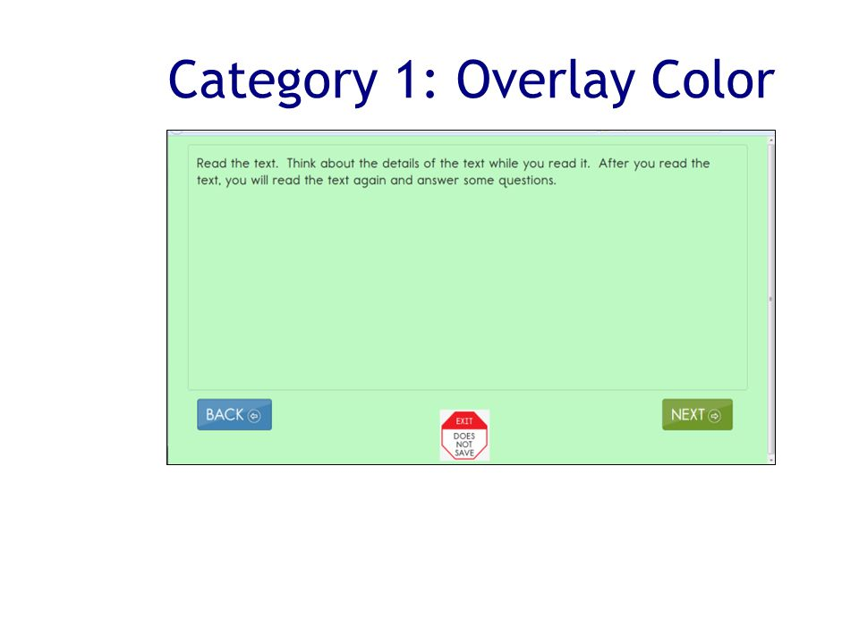 Category 1: Overlay Color