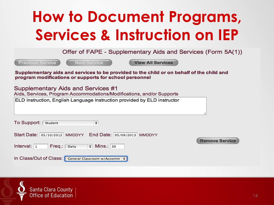 How to Document Programs, Services & Instruction on IEP 14