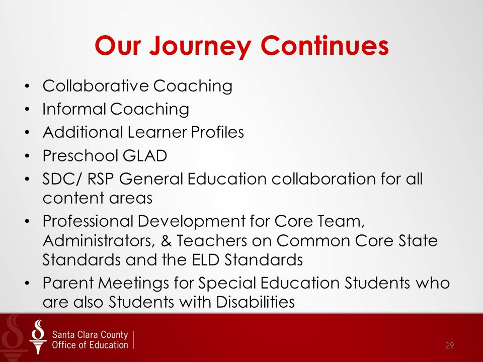 Our Journey Continues Collaborative Coaching Informal Coaching Additional Learner Profiles Preschool GLAD SDC/ RSP General Education collaboration for