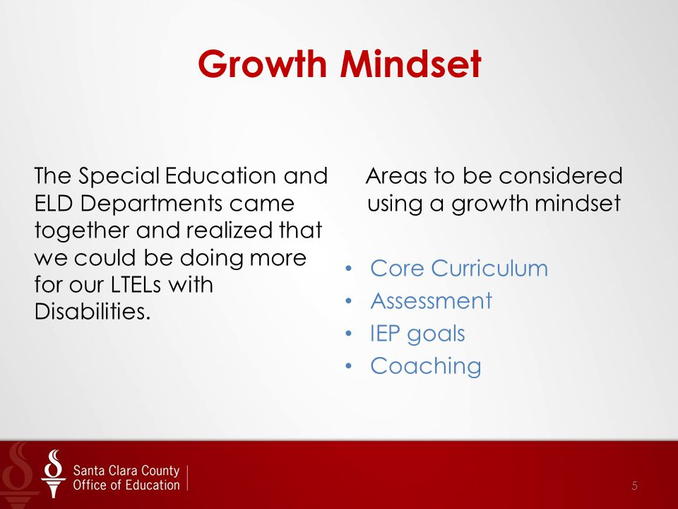 Growth Mindset The Special Education and ELD Departments came together and realized that we could be doing more for our LTELs with Disabilities.