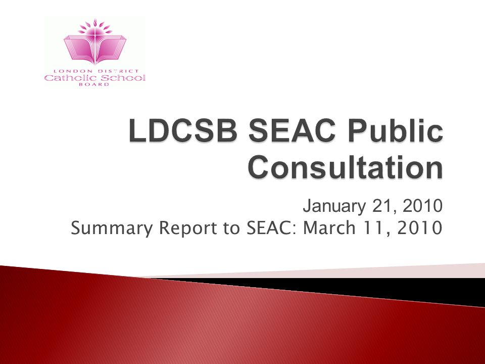 January 21, 2010 Summary Report to SEAC: March 11, 2010
