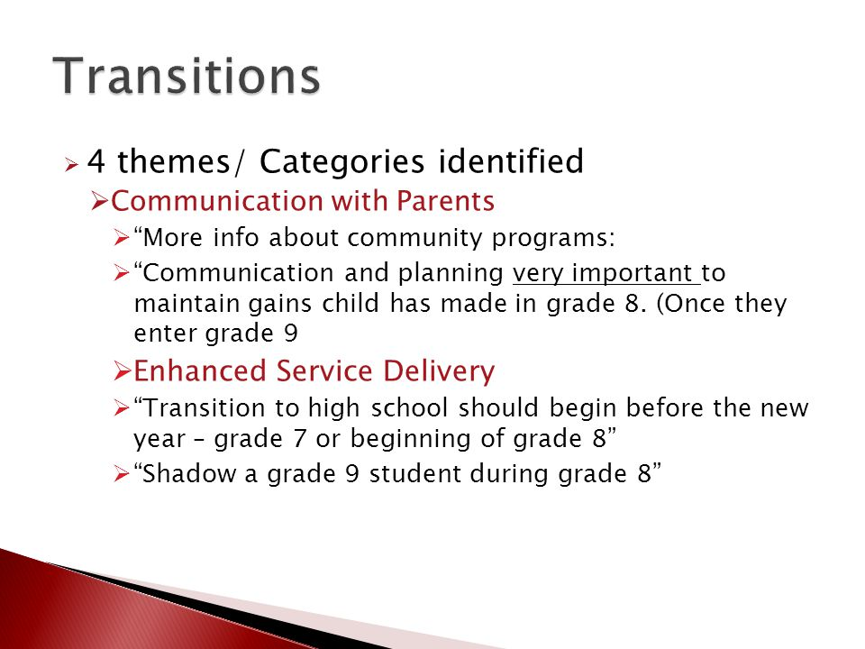  4 themes/ Categories identified  Communication with Parents  More info about community programs:  Communication and planning very important to maintain gains child has made in grade 8.