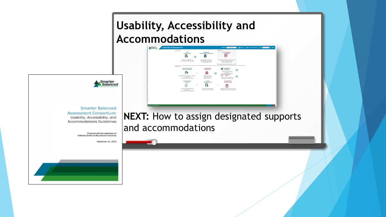 Usability, Accessibility and Accommodations NEXT: How to assign designated supports and accommodations