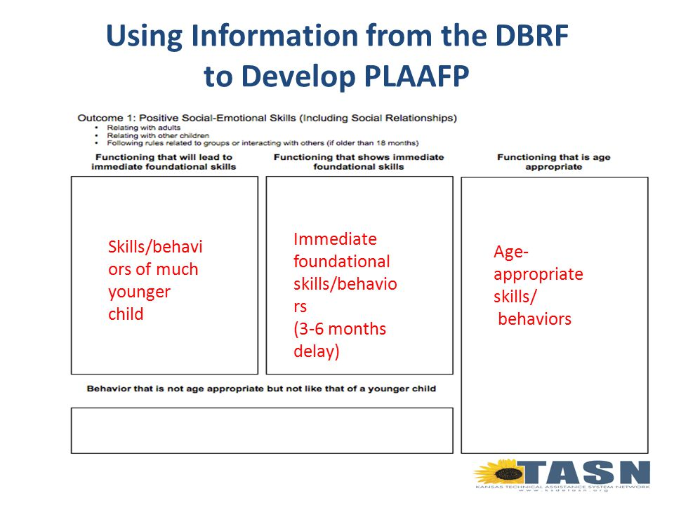 Using Information from the DBRF to Develop PLAAFP Age- appropriate skills/ behaviors Immediate foundational skills/behavio rs (3-6 months delay) Skills/behavi ors of much younger child