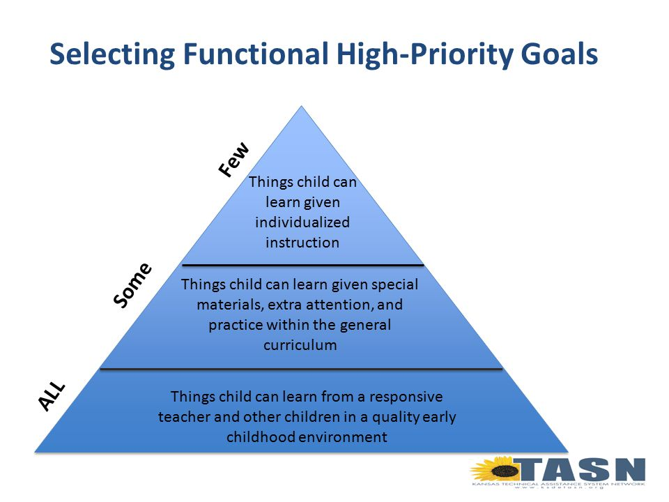 Selecting Functional High-Priority Goals Things child can learn from a responsive teacher and other children in a quality early childhood environment Things child can learn given special materials, extra attention, and practice within the general curriculum Things child can learn given individualized instruction ALL Some Few