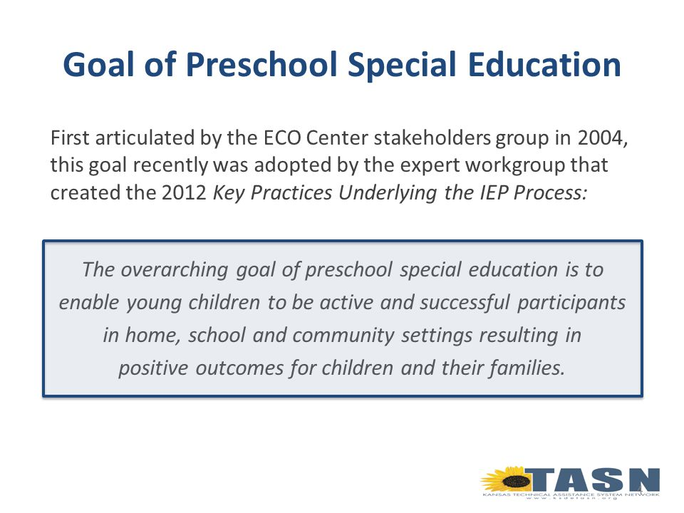 First articulated by the ECO Center stakeholders group in 2004, this goal recently was adopted by the expert workgroup that created the 2012 Key Practices Underlying the IEP Process: The overarching goal of preschool special education is to enable young children to be active and successful participants in home, school and community settings resulting in positive outcomes for children and their families.