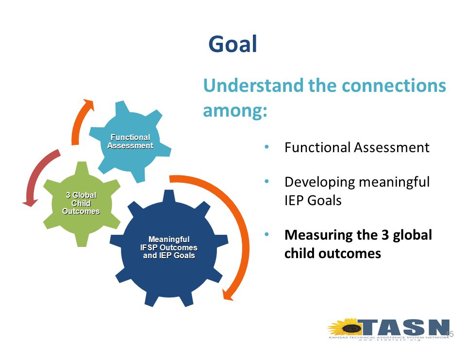 45 Goal Understand the connections among: Functional Assessment Developing meaningful IEP Goals Measuring the 3 global child outcomes