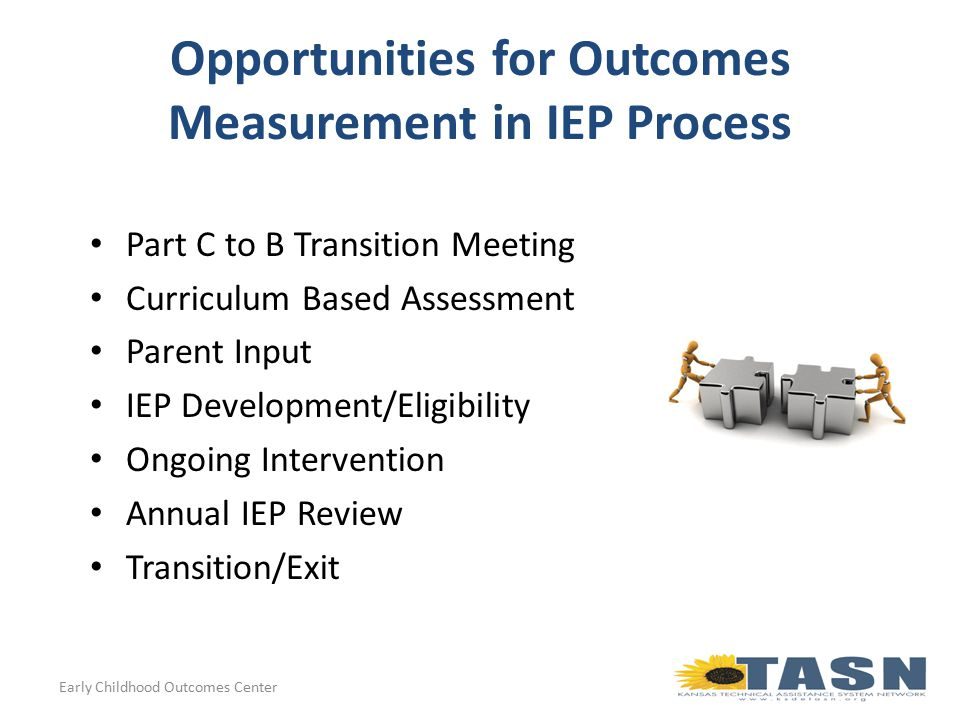 Opportunities for Outcomes Measurement in IEP Process Part C to B Transition Meeting Curriculum Based Assessment Parent Input IEP Development/Eligibility Ongoing Intervention Annual IEP Review Transition/Exit Early Childhood Outcomes Center