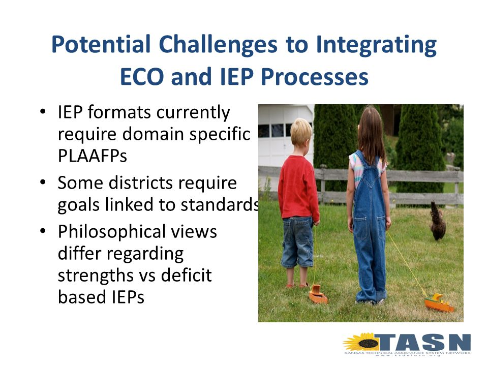 Potential Challenges to Integrating ECO and IEP Processes IEP formats currently require domain specific PLAAFPs Some districts require goals linked to standards Philosophical views differ regarding strengths vs deficit based IEPs
