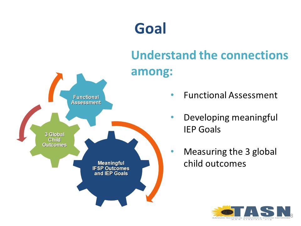 Functional assessment is the means by which we accomplish an integrated process, including developing individual outcomes/goals as well as determining the rating for each of the three global child outcomes.
