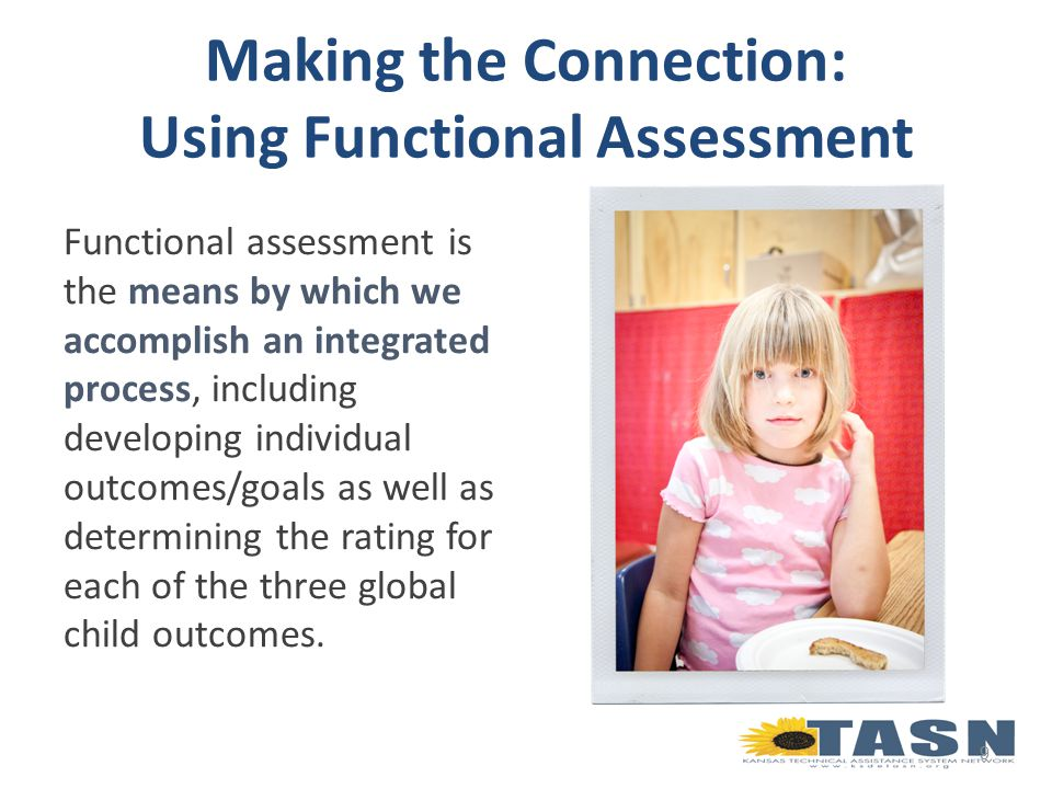 Yields a real picture of the child Guides identification of functional individualized outcomes and goals Supports strengths- based approach 20 Why is Functional Fundamental?
