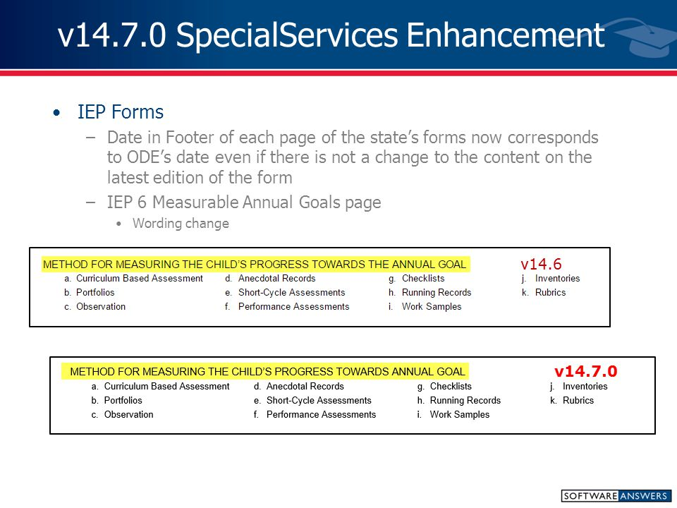v14.7.0 SpecialServices Enhancement IEP Forms –Date in Footer of each page of the state's forms now corresponds to ODE's date even if there is not a change to the content on the latest edition of the form –IEP 6 Measurable Annual Goals page Wording change