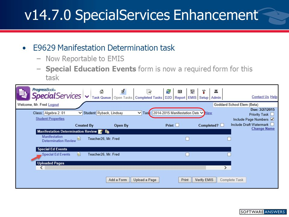 v14.7.0 SpecialServices Enhancement IEP Forms –IEP 15 Children with Visual Impairments Updated 2 nd check box under Annual REREVIEW/REVIEW OTHER THAN ANNUAL REVIEW (Change of Placement)