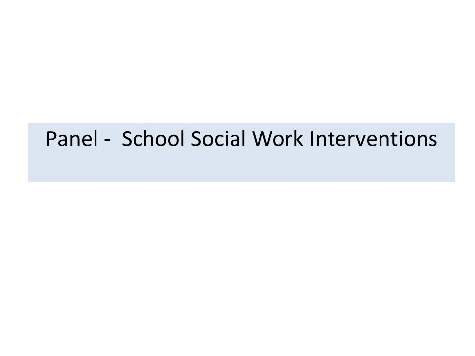 Panel - School Social Work Interventions