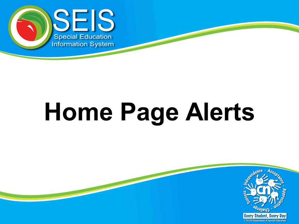 Home Page Alerts