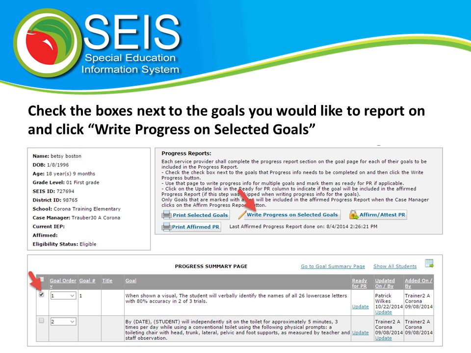 Once you have filled out the boxes, click yes the goal is Ready for PR and click Update Progress on Goals .