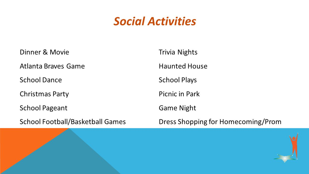 Social Activities Dinner & MovieTrivia Nights Atlanta Braves Game Haunted House School Dance School Plays Christmas Party Picnic in Park School Pageant Game Night School Football/Basketball Games Dress Shopping for Homecoming/Prom