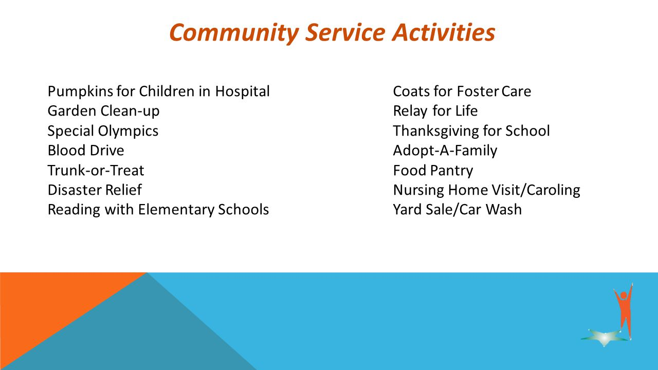 Community Service Activities Pumpkins for Children in HospitalCoats for Foster Care Garden Clean-upRelay for Life Special OlympicsThanksgiving for School Blood DriveAdopt-A-Family Trunk-or-Treat Food Pantry Disaster ReliefNursing Home Visit/Caroling Reading with Elementary SchoolsYard Sale/Car Wash