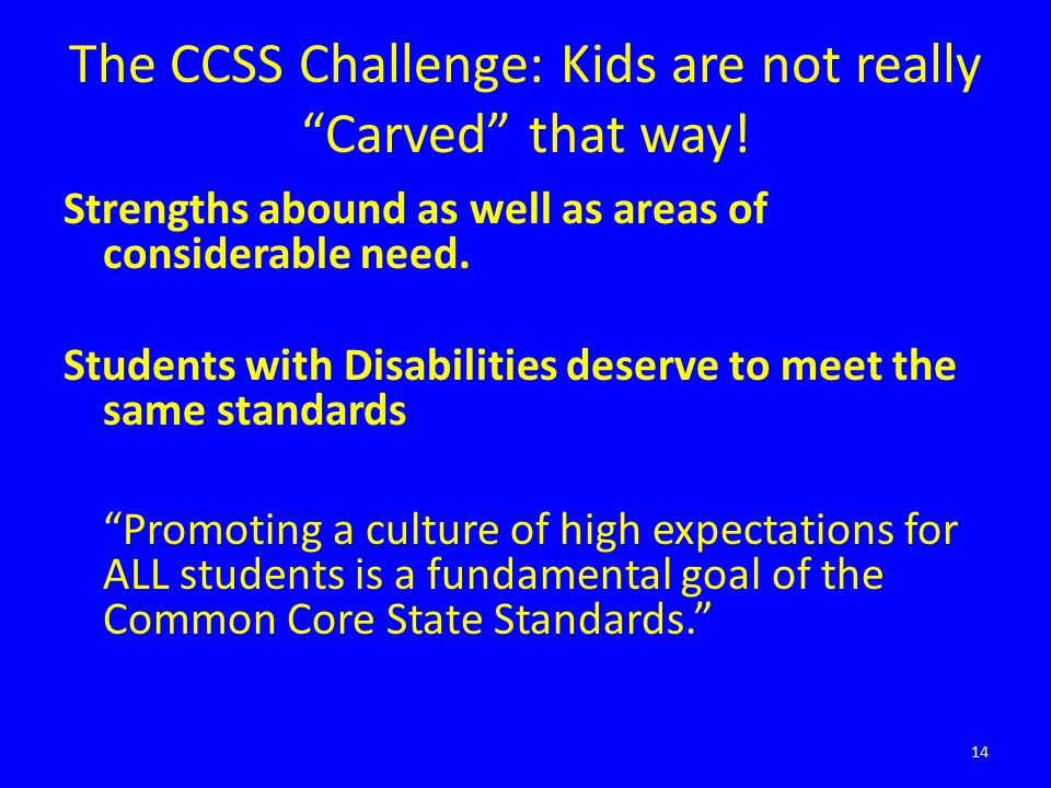 """The CCSS Challenge: Kids are not really """"Carved"""" that way! Strengths abound as well as areas of considerable need. Students with Disabilities deserve"""