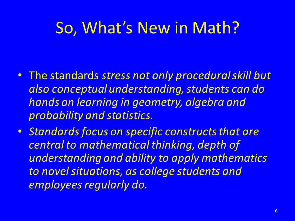 So, What's New in Math.