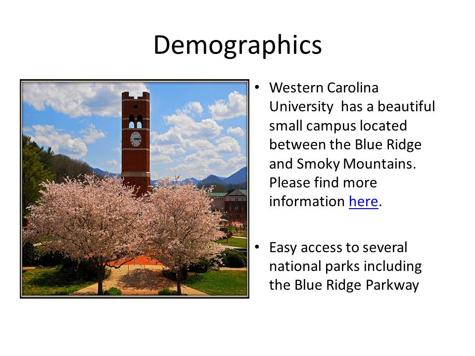 Demographics Star marks the location of WCU- the campus is in the southeast corner of the United States WCU is in the middle of the Appalachian Mountain Chain and is close to several large cities