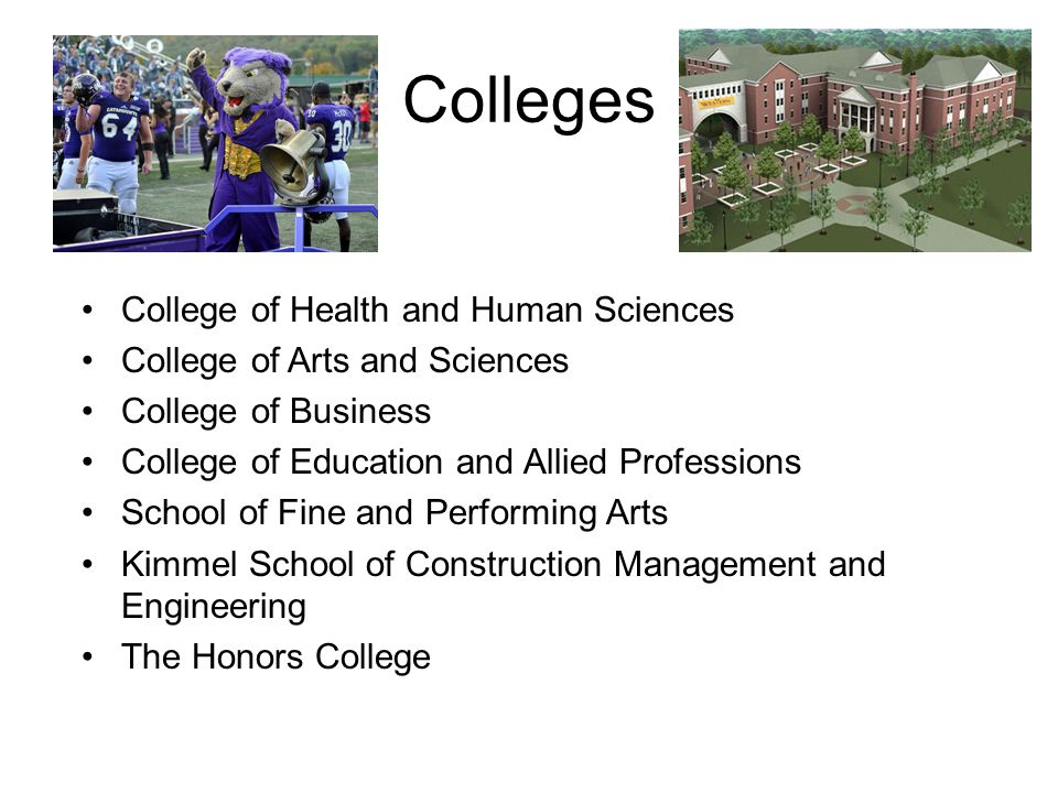 Colleges College of Health and Human Sciences College of Arts and Sciences College of Business College of Education and Allied Professions School of F