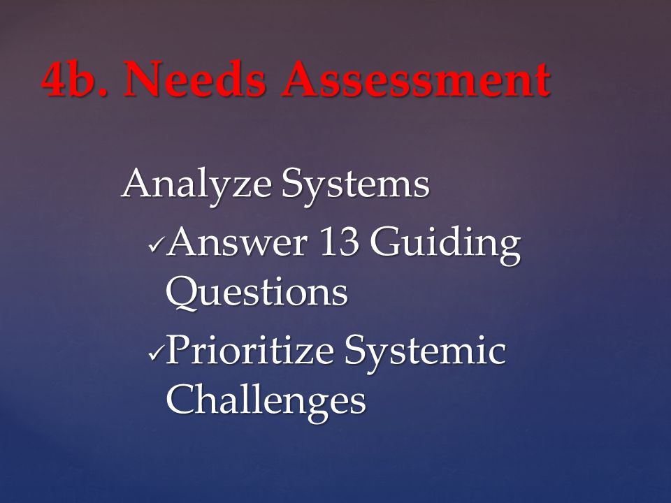 Analyze Systems Answer 13 Guiding Questions Answer 13 Guiding Questions Prioritize Systemic Challenges Prioritize Systemic Challenges 4b.