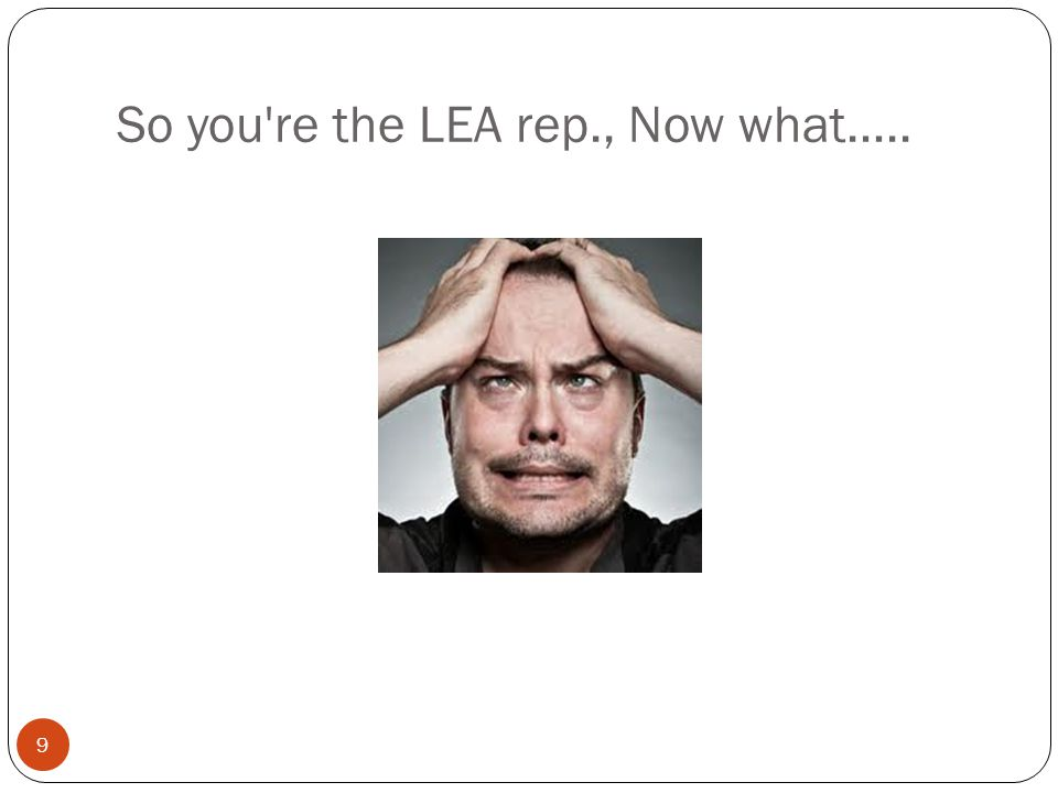 So you're the LEA rep., Now what….. 9